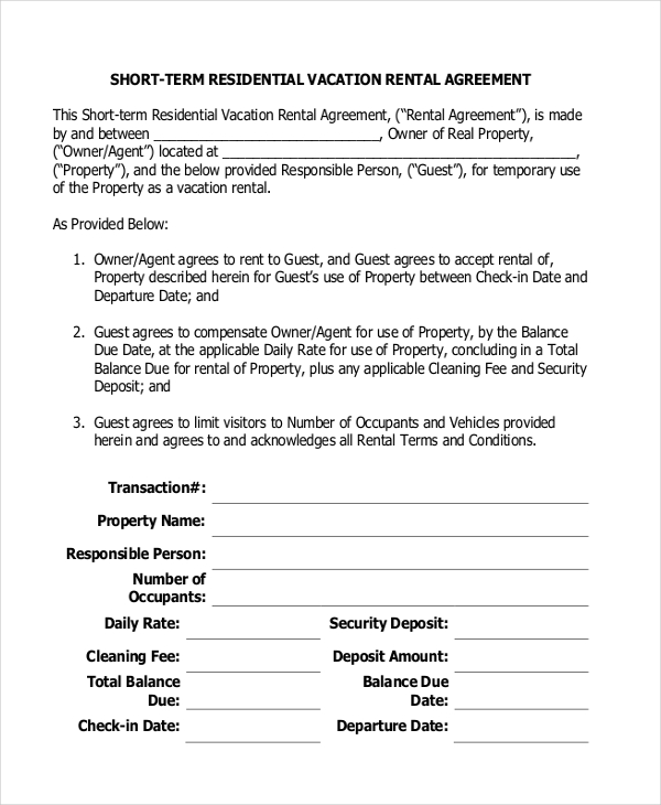 short rental agreement template short term rental agreement