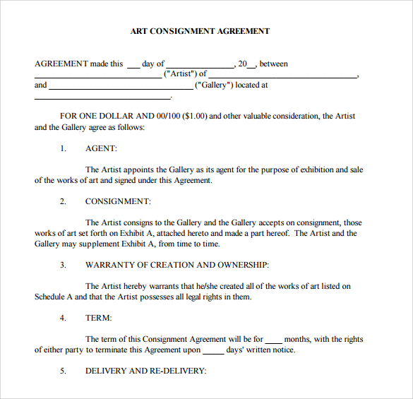 bot agreement template simple consignment agreement template