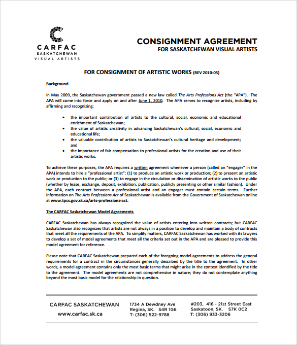 simple consignment agreement template basic contract template free