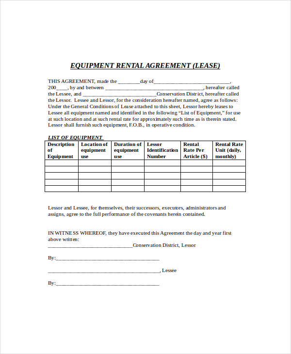 simple equipment rental agreement template free equipment lease