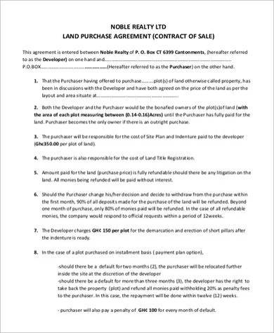 8+ Land Purchase Agreement Samples | Sample Templates