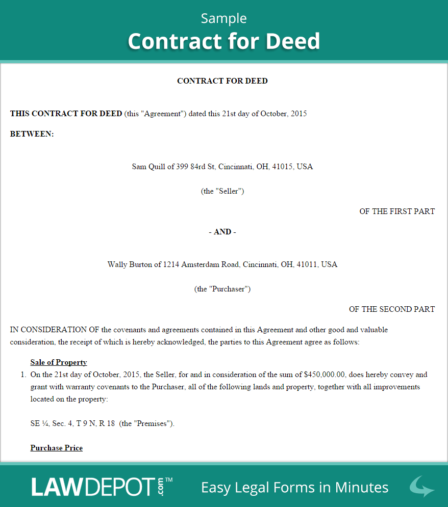 Land Contract Forms | Free Contract for Deed Form (US) | LawDepot