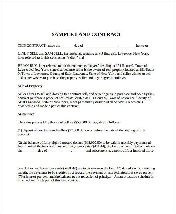 simple land purchase agreement template 7 land contract forms free