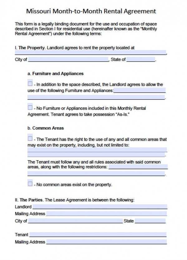 free missouri lease agreement template free missouri month to