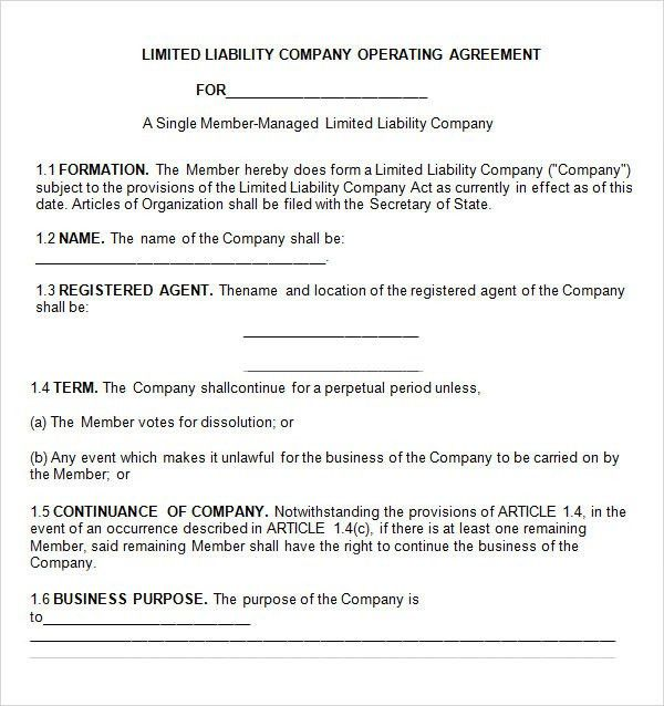 llc partnership agreement template free simple operating agreement
