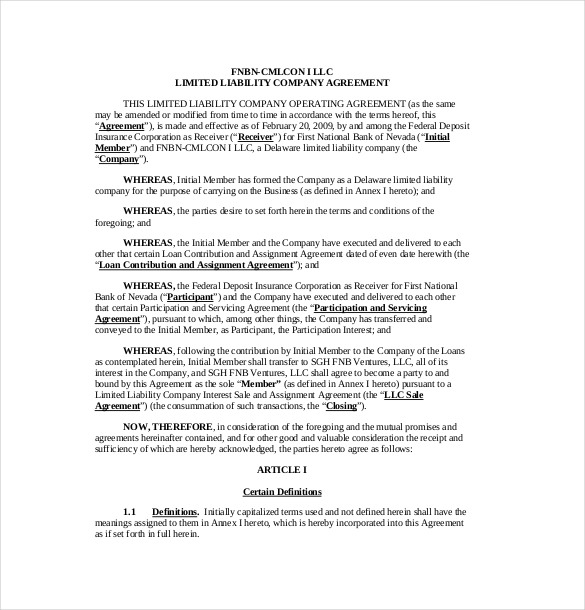 11+ Operating Agreement Templates – Sample, Example, Format