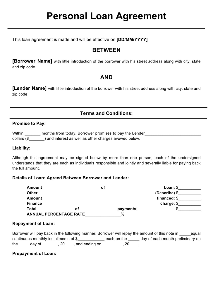 simple loan agreement template