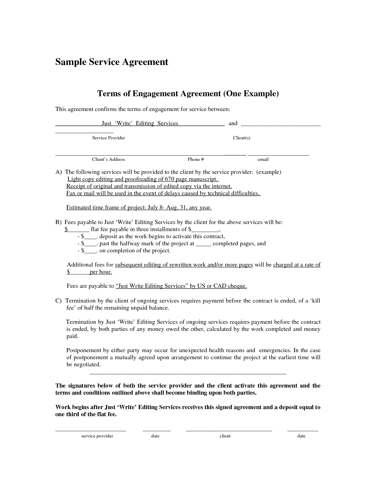 10 Best Images Of Basic Service Agreement Template It Simple