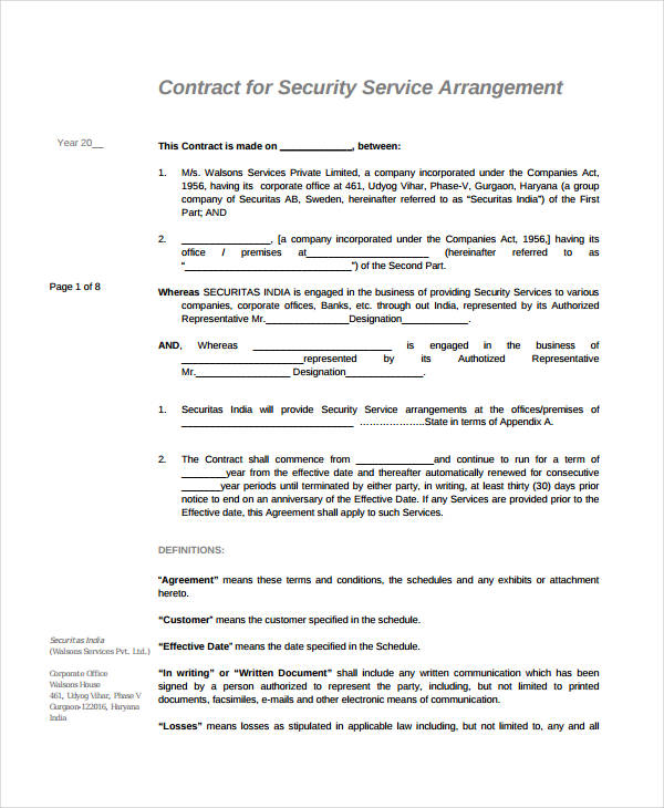 contract service agreement template free simple service agreement