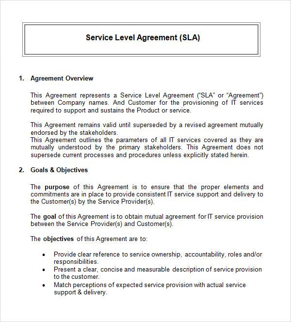 simple service agreement template word simple service level