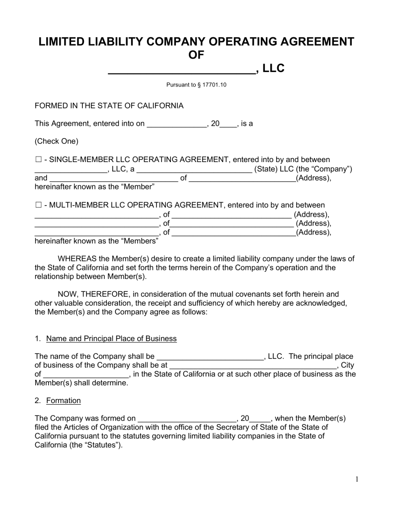 California Single Member LLC Operating Agreement Free LLC