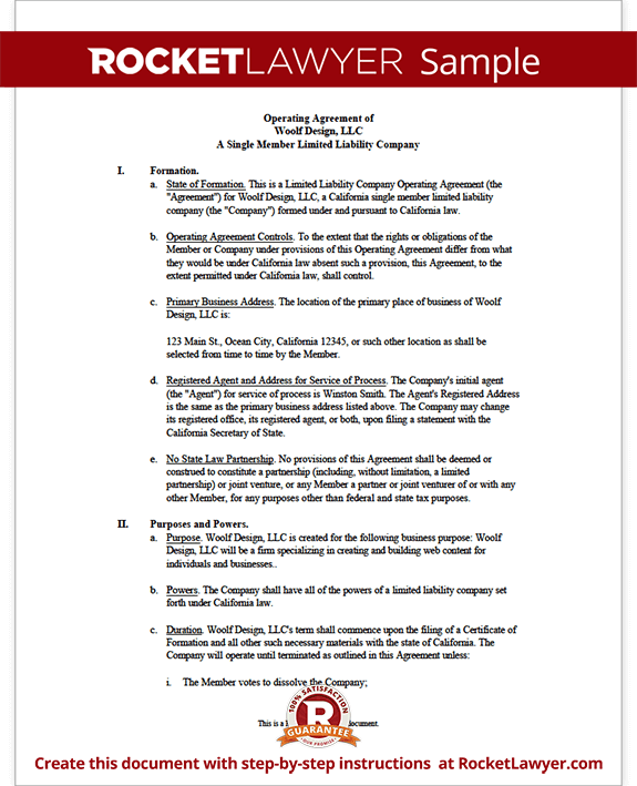Download California LLC Operating Agreement Templates | PDF | Word