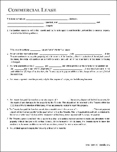 commercial lease agreement template word commercial lease