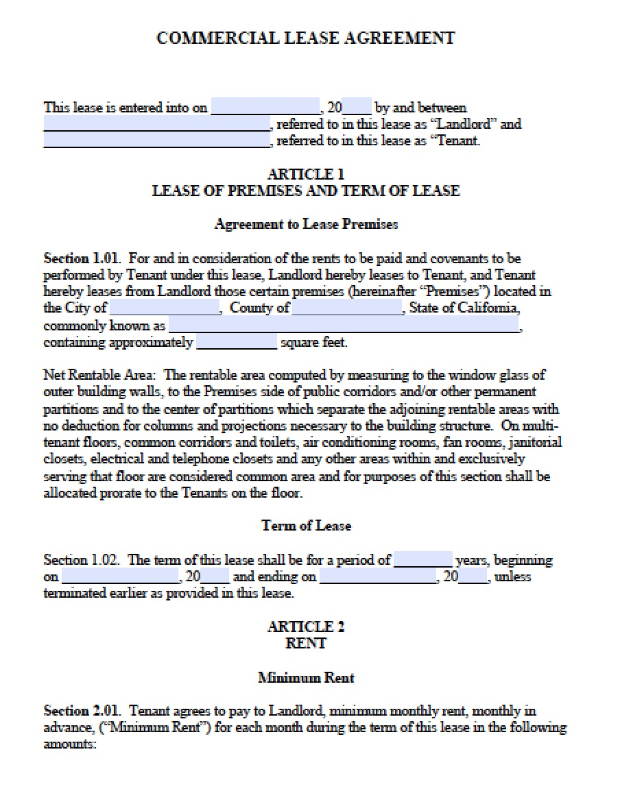 free california commercial lease agreement pdf word doc document