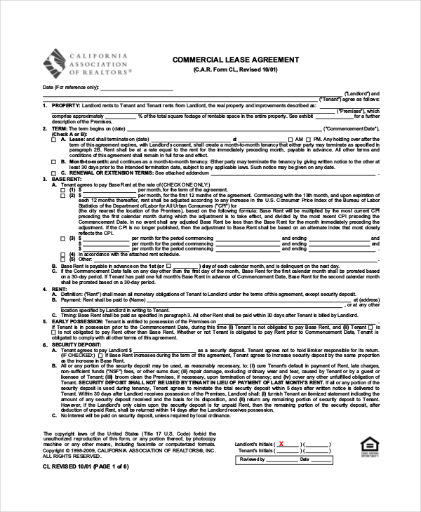 Commercial Lease Agreement 10+ Free PDF, Word Documents Download