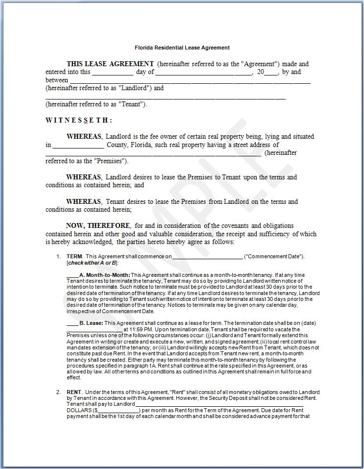 florida state buy and sell agreement template florida lease