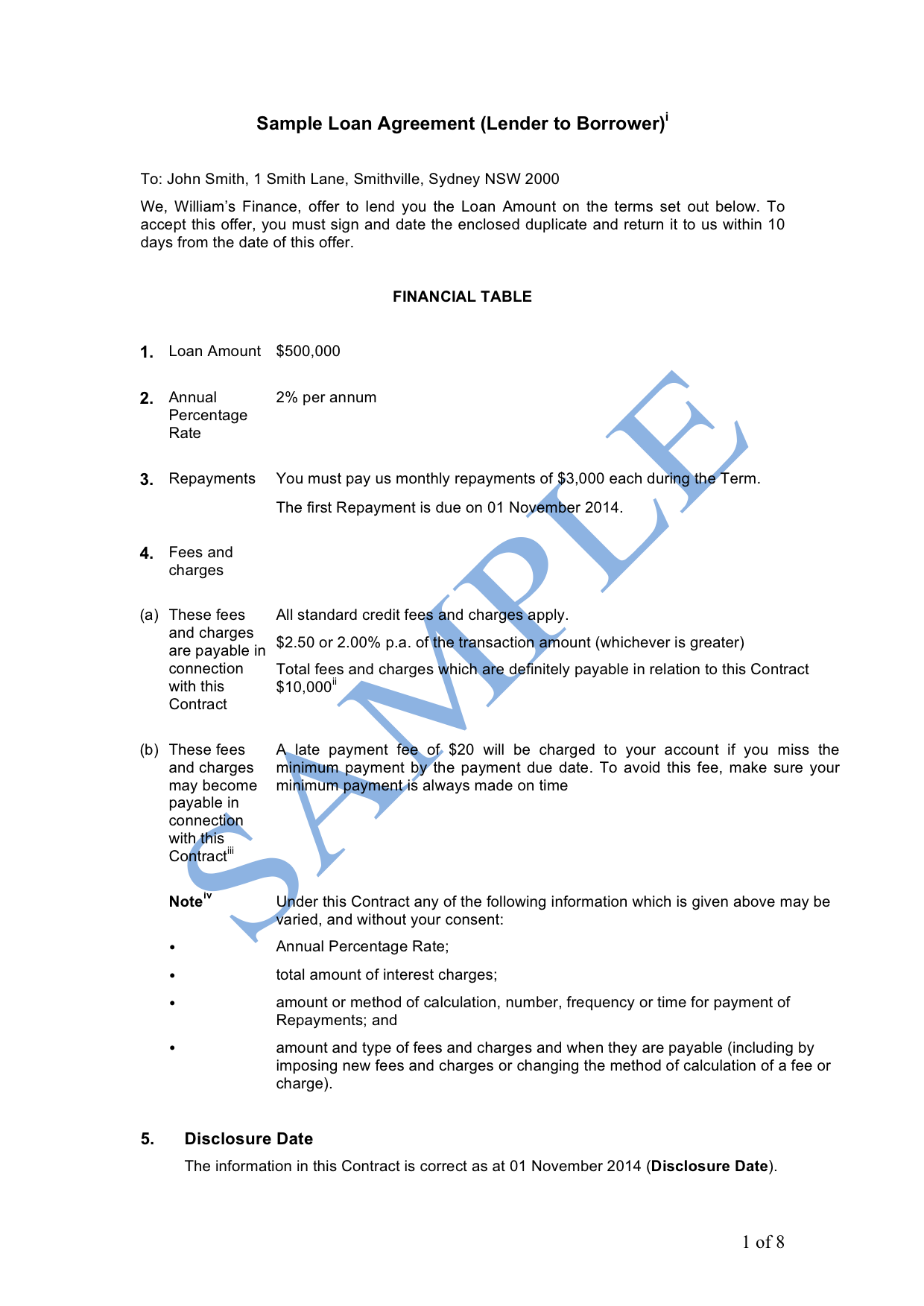 Loan Agreement (Lender to Borrower) Sample LawPath