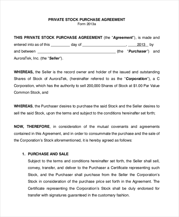 Sample Stock Purchase Agreement Form 7+ Free Documents in PDF