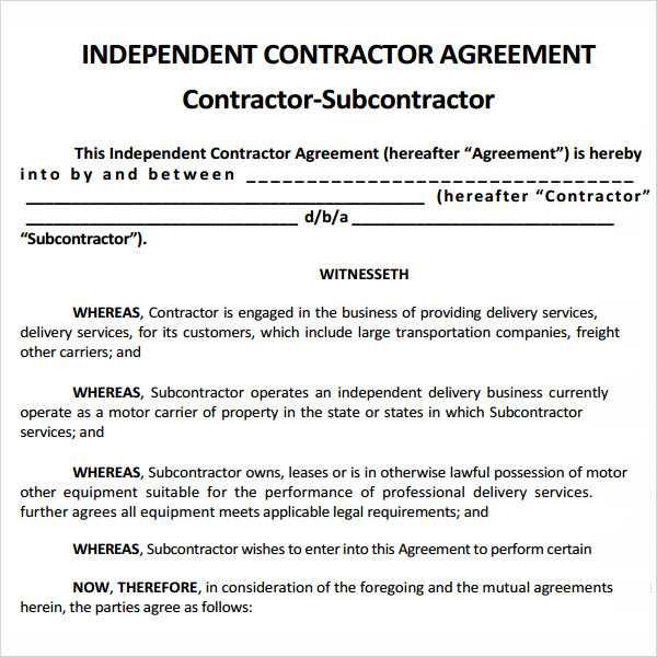 independent subcontractor agreement template subcontractor