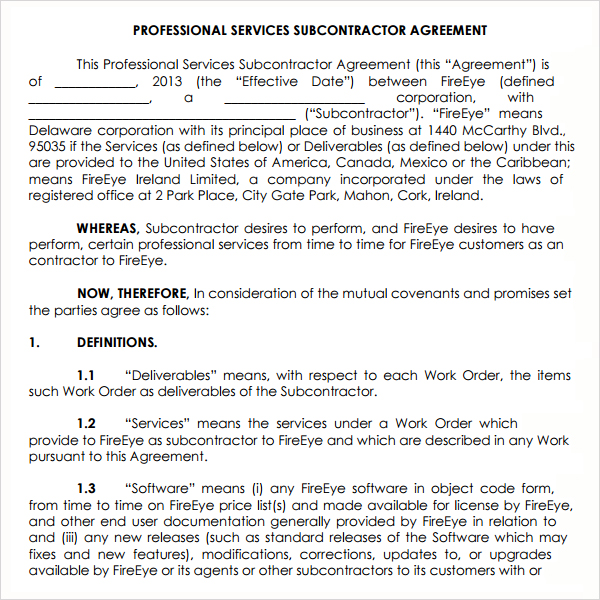 subcontractor service agreement template professional service