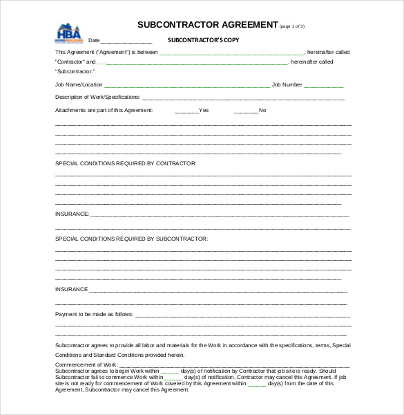 subcontractor agreement template free 14 subcontractor agreement