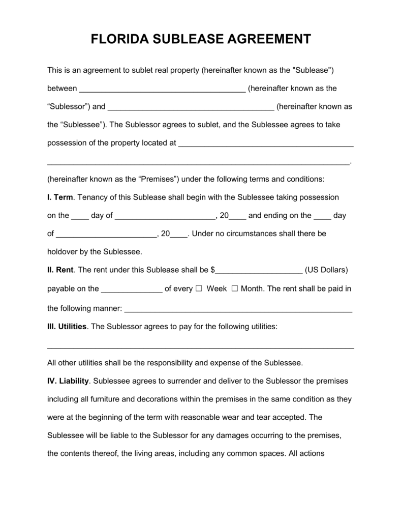 Florida Sub Lease Agreement Template | eForms – Free Fillable Forms