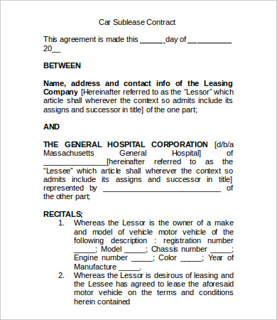 car sublease agreement template sublease contract template 8 free