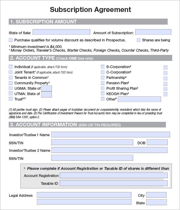 subscription agreement template sample subscription agreement 7