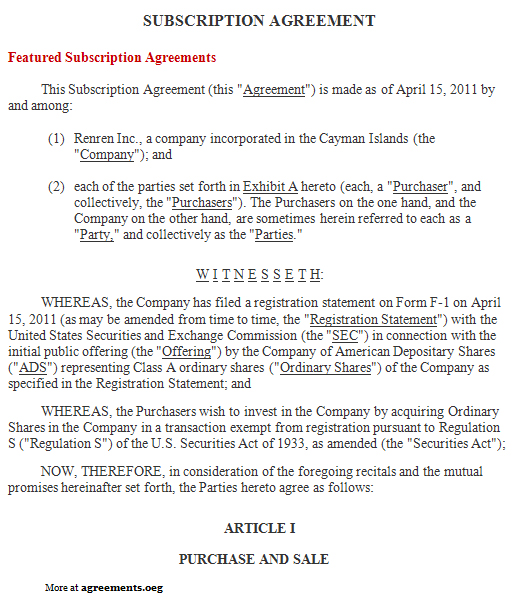 subscription agreement template subscription agreement sample