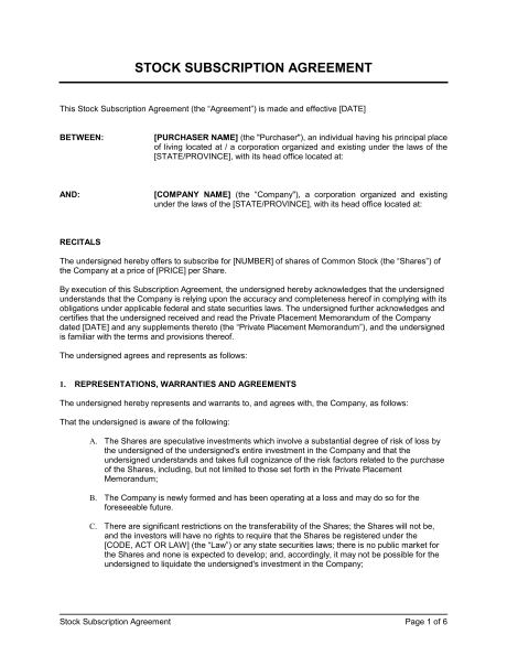 subscription agreement template subscription agreement template