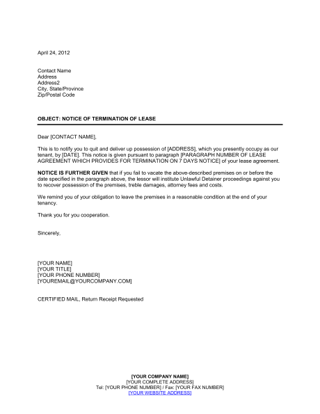 Landlord Notice of Termination of Lease Template & Sample Form