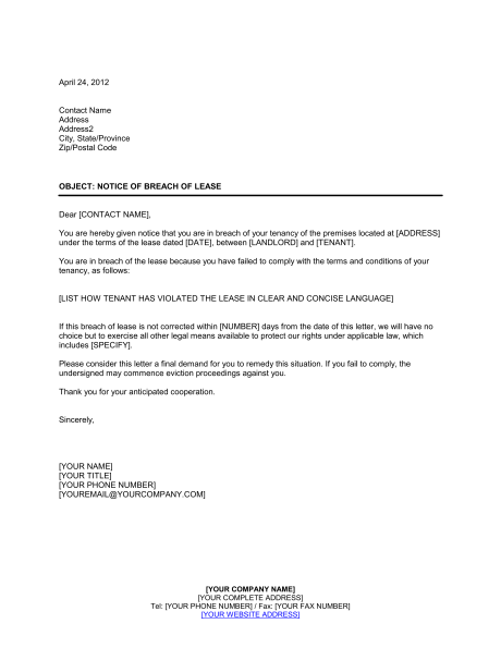 End Of Tenancy Agreement Letter From Landlord Template