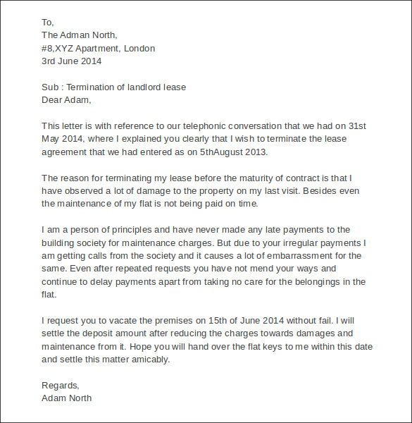 End of tenancy agreement letter from landlord template.