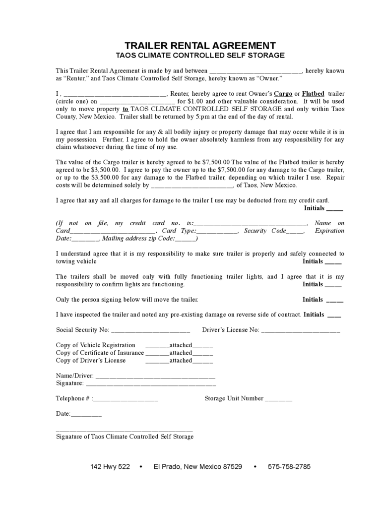 Trailer Rental Agreement 6 Free Templates in PDF, Word, Excel