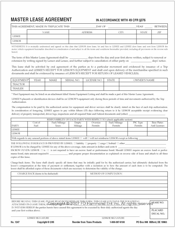 trailer lease agreement master lease agreement no 1247 printable