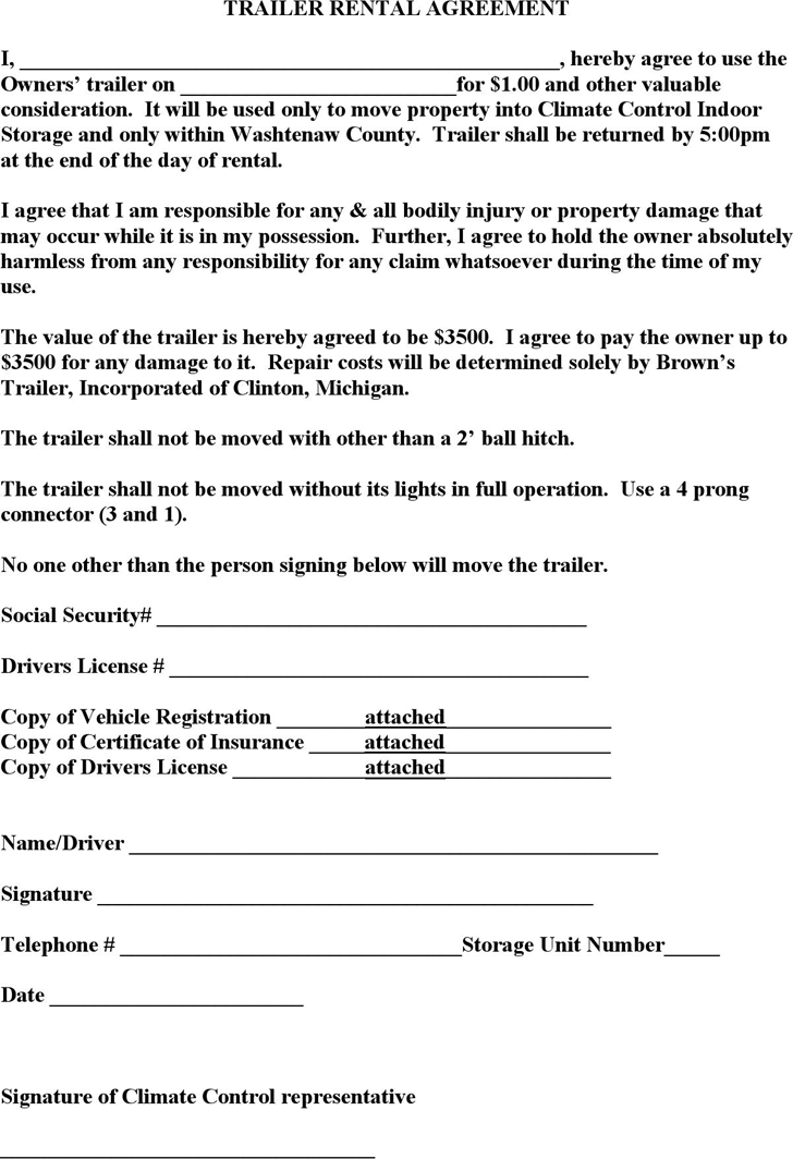 trailer lease agreement trailer rental agreement template download