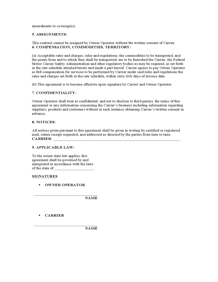 Trucking Company Owner Lease Agreement Gtld World Congress