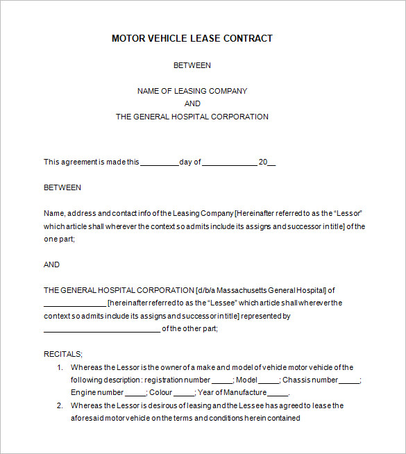 Car Lease Agreement Template Free Nankosoul.com