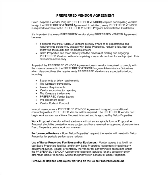 vendor agreement template free 17 vendor agreement templates free