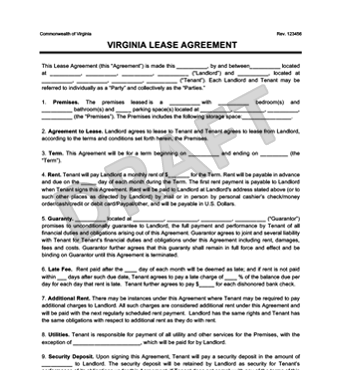 Virginia Residential Lease/Rental Agreement | Create & Download
