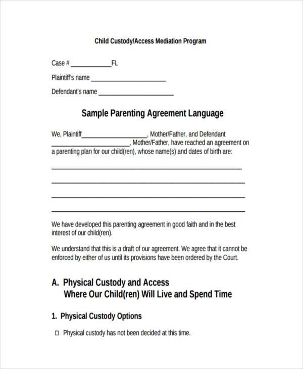 voluntary child custody agreement form Templates Fillable