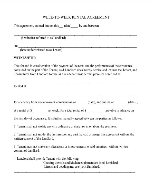 weekly rental agreement template vacation rental agreement example