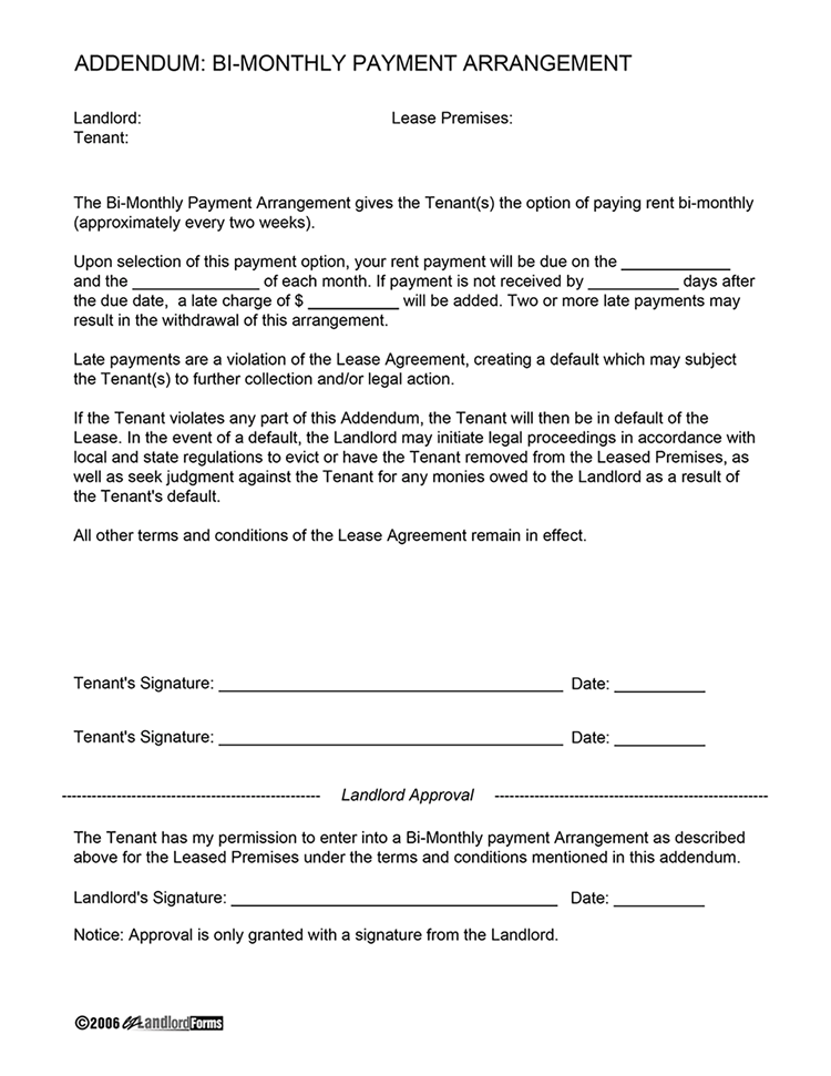 week to week rental agreement template bi weekly payment