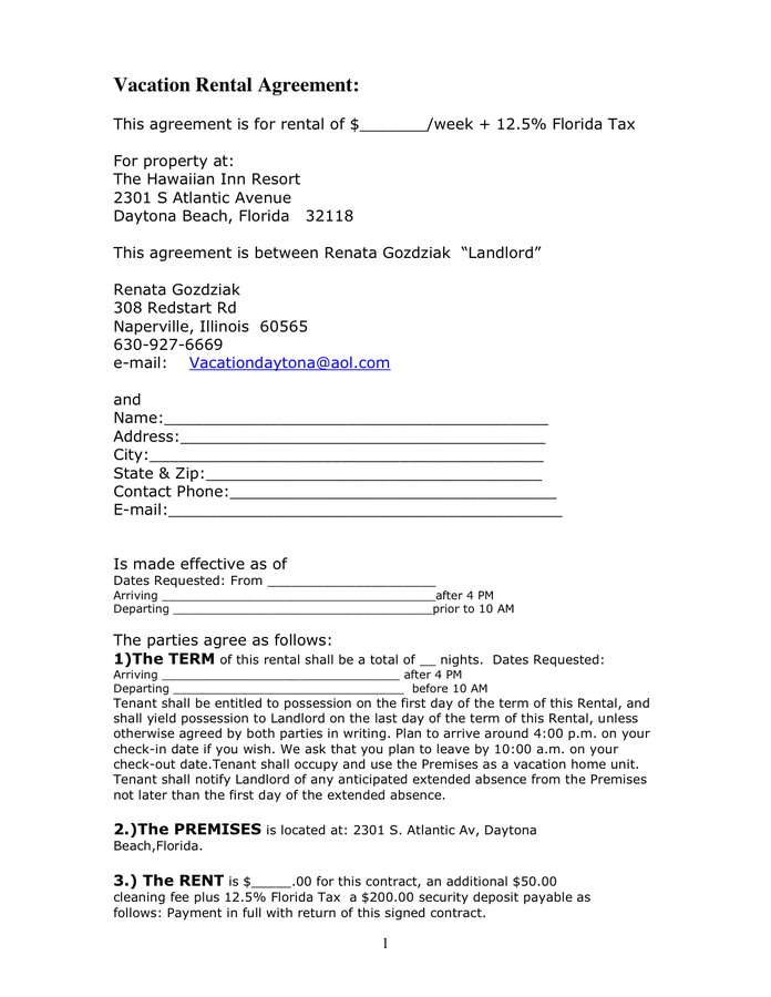 vacation rental agreement template weekly rental agreement
