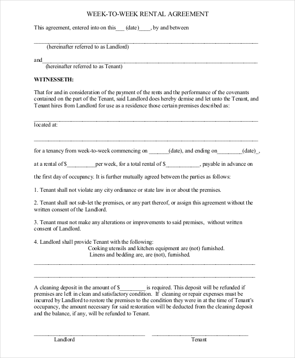 Rental Agreement Template 11+ Free Word, PDF Documents Download