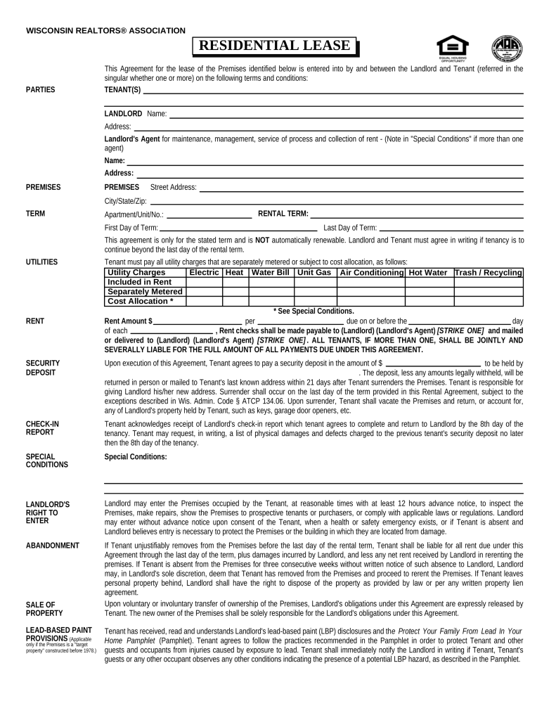Free Wisconsin Association of Realtors Residential Lease Agreement