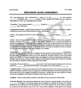 Wisconsin Residential Lease/Rental Agreement Forms & Docs | Free PDF