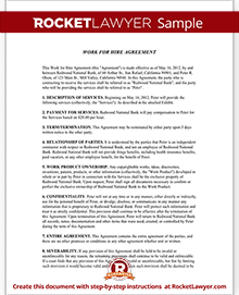 Work for Hire Agreement | Rocket Lawyer