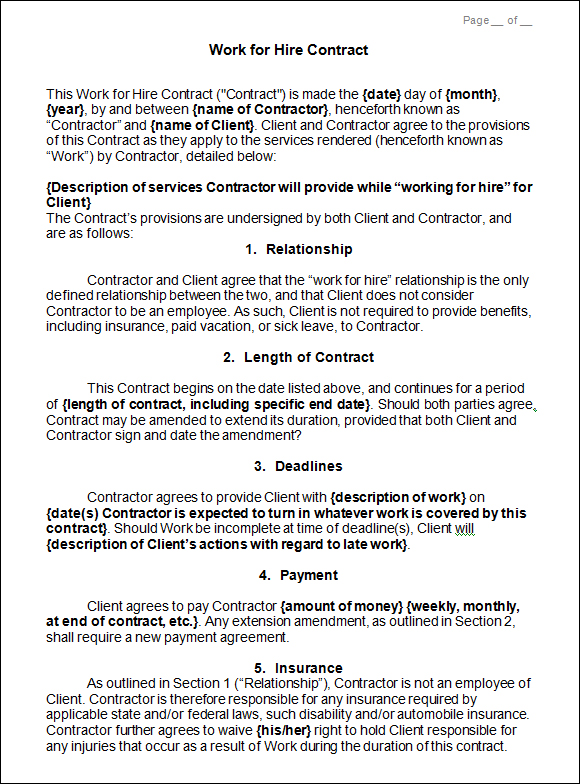 Work Made For Hire Agreement Template emsec.info