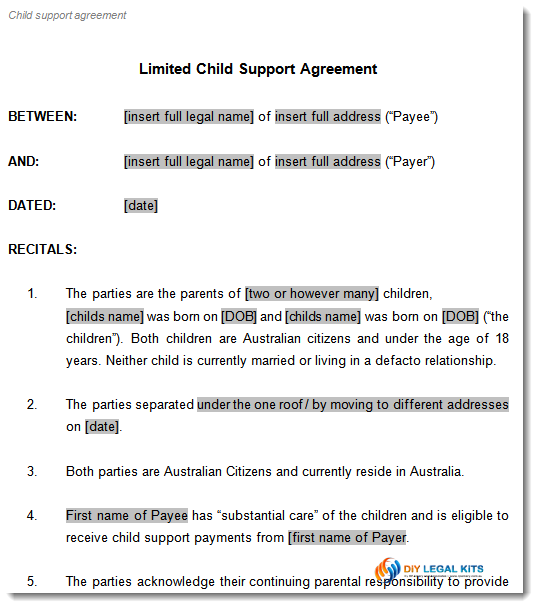 Child Support and Parenting Plan Agreement Template